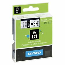 "Dymo D1 Label Tape 40913 9mm x 7m Black/White 3/8"" X 23' S0720680 Original"