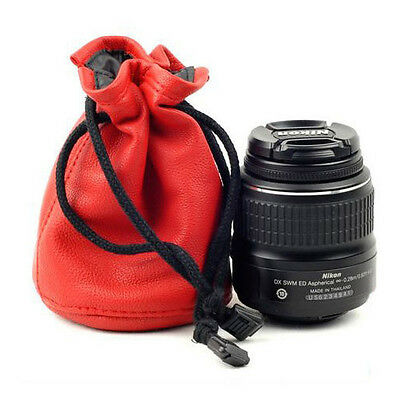 Waterproof Leather Camera Lens Bag Pouch For DSLR Canon Nikon Sony Leica 18-55mm