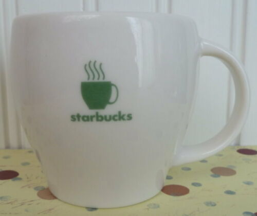 2003 STARBUCKS ABBEY II MUG WHITE WITH GREEN ACCENTS 7.5 OZ