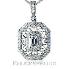 Diamond Pendant 1.75ct Emerald-cut F VS Solid 18ct White Gold Filigree + Chain
