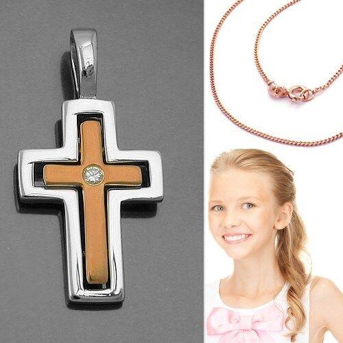 Kinder Kreuz Anhänger Taufkette Kommunion mit Kette Silber 925 Rosè Rot Gold