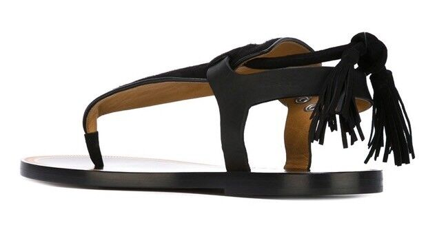 Isabel Marant Jemma Flat Suede Tassel Sandal Sandal Sandal schwarz schwarz 38  NEU    cdc027