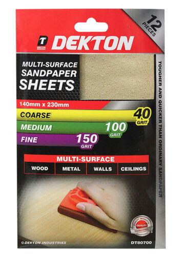 Dekton 2PC SANDPAPER 4 X COARSE 4 X MEDIUM 140MM X 230MM 4 X FINE