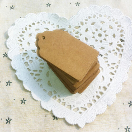 100pcs BLANK Brown Kraft Paper Hang Tags w//String Punch Label Price Gift Card JX