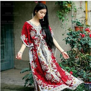 Hippy-Boho-Maxi-New-Long-Kaftan-dress-Free-Size-Women-Caftan-Top-Dress-Gown