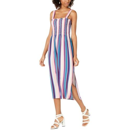 Be Bop Womens Pink Striped Smocked Sleeveless Midi Dress Juniors XS BHFO 7184