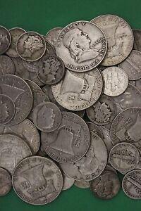 MAKE OFFER Half Troy Pound Roosevelt Dimes Washington Quarters Silver Junk Coins
