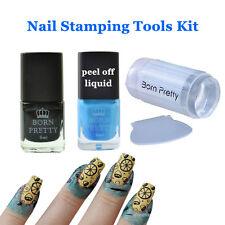 Born Pretty Blue Peel Off Liquid Tape Black Stamping Polish Stamper Scraper Kit