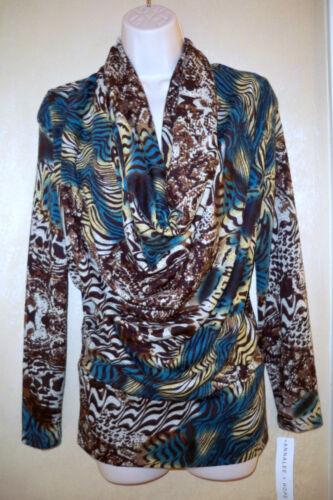 Multi Annalee Neck W Color Nwt Blouse Tunic Print M Animal Cowl Drape Hope Top r5rqT