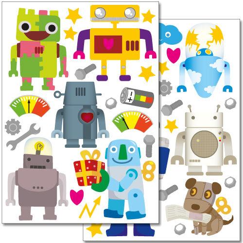 2 DIN A4 Bögen 60 x 20 cm Wandkings DINA4 Roboter Wandsticker Set 40 Aufkleber