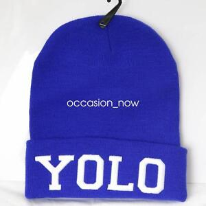 UNISEX-MENS-WOMANS-KNIT-KNITTED-BEANIE-RETRO-COOL-YOLO-BLUE-HAT