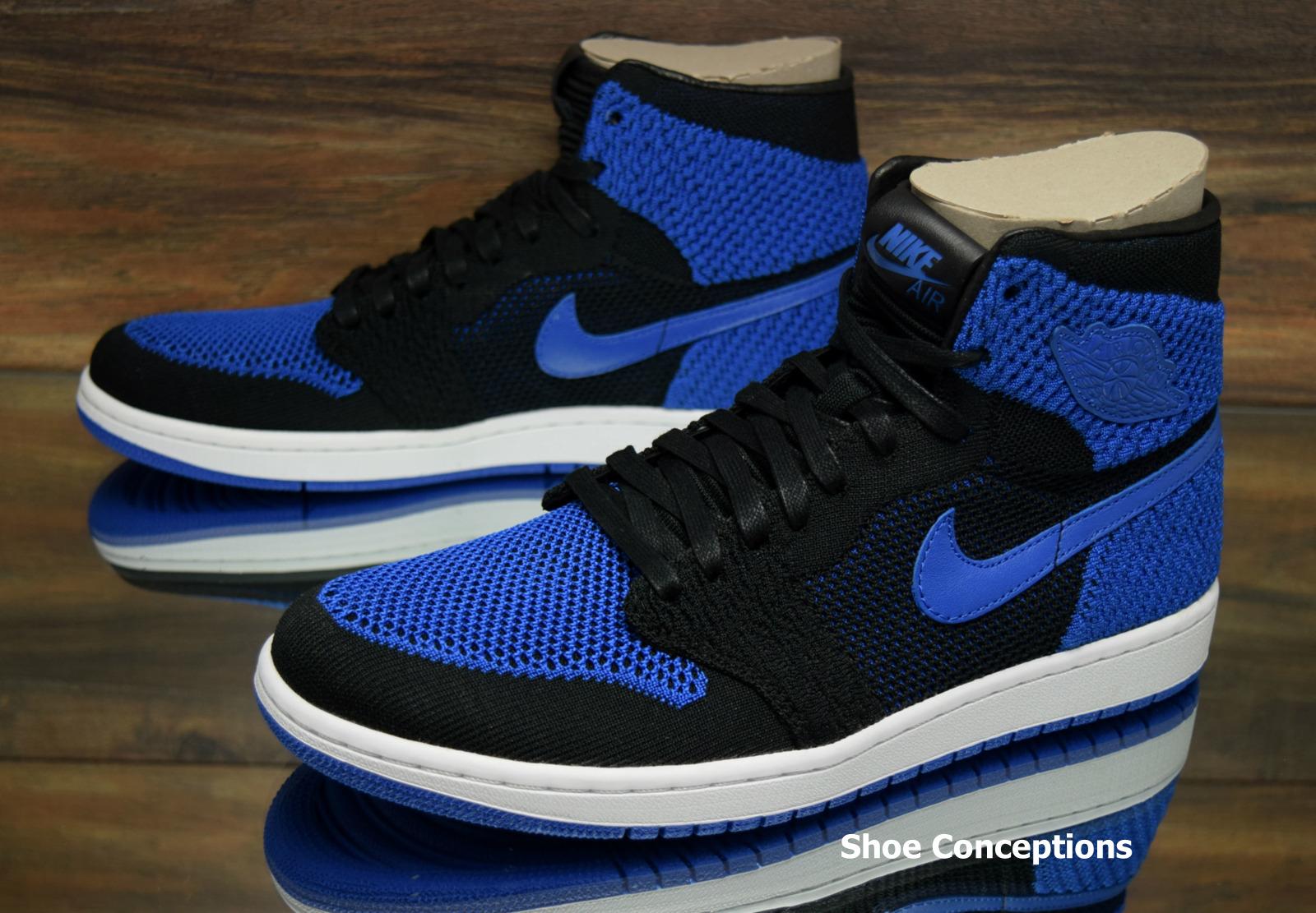 Air Jordan 1 Retro Hi Flyknit Black Blue Men's Shoes - Size 10, 11.5
