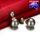 18K Rose Gold Filled Stud Earrings With 8MM Black Pearl And 15MM Black Pearl