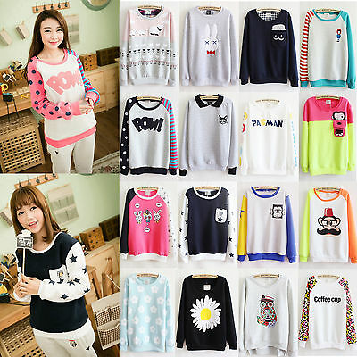 Korean Women's Long Sleeve Casual Sweater Crewneck Pullover Fleece Sweater Tops