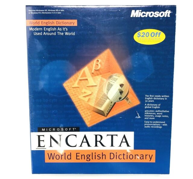 Microsoft Encarta World English Dictionary for Windows 95 98 NT Workstation VTG
