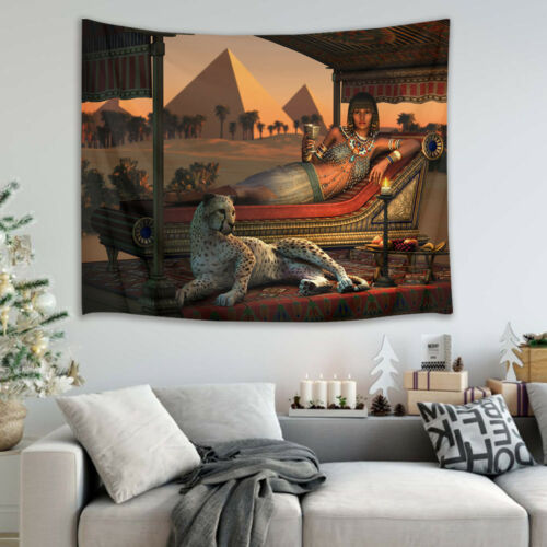 Egypt Queen Leopard Art Wall Hanging Room Tapestry Bedspread Dorm Home Decor