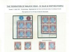 Federation of Malaya Issue Kelantan - $1 Blue & Deep Red-Purple Exhibition Piece