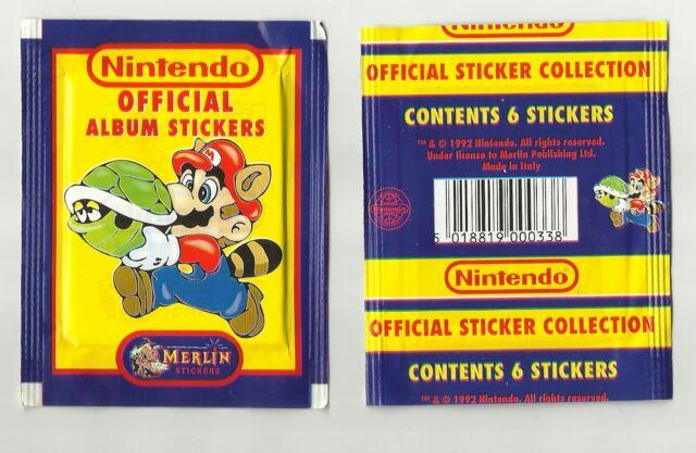 1992 Merlin Nintendo 2 Packets 12 Stickers Super Mario Zelda SNES Game Boy  Era