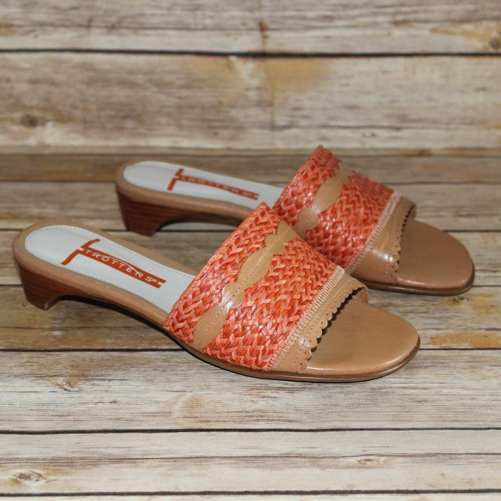 New Tredters Brown Leather orange Woven Straw Slides Sandals Heels shoes 6.5WW