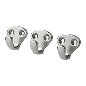 Hook-Silver-colour-3-pack-Wall-Hanger-1-18-034-Metal-Zinc-IKEA-KVASP-NEW