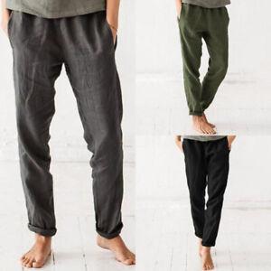 ZANZEA-Femme-Pantalon-Couleur-Unie-Poche-Harlan-Taille-elastique-Casual-Longue