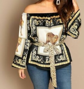 56231631bac Chain Leopard Print Flounce Sleeve Satin Off Shoulder Top With Belt ...