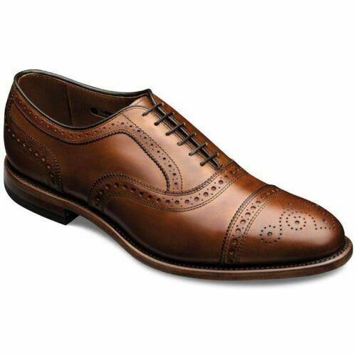 Handgefertigte echte braune Leder Oxford Brogue Toe Cap Schuhe für Herren