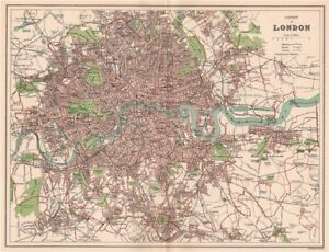 County Of London Antique Town City Map Plan 1893 Old Chart Ebay