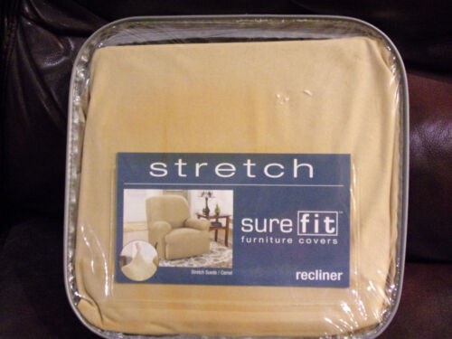 SURE FIT STRETCH SUEDE CAMEL RECLINER CHAIR SLIPCOVER    NEW