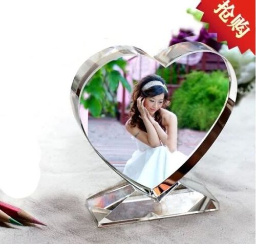Personalized Custom Crystal Glass Heart Photo Acrylic Frame updated Christmas