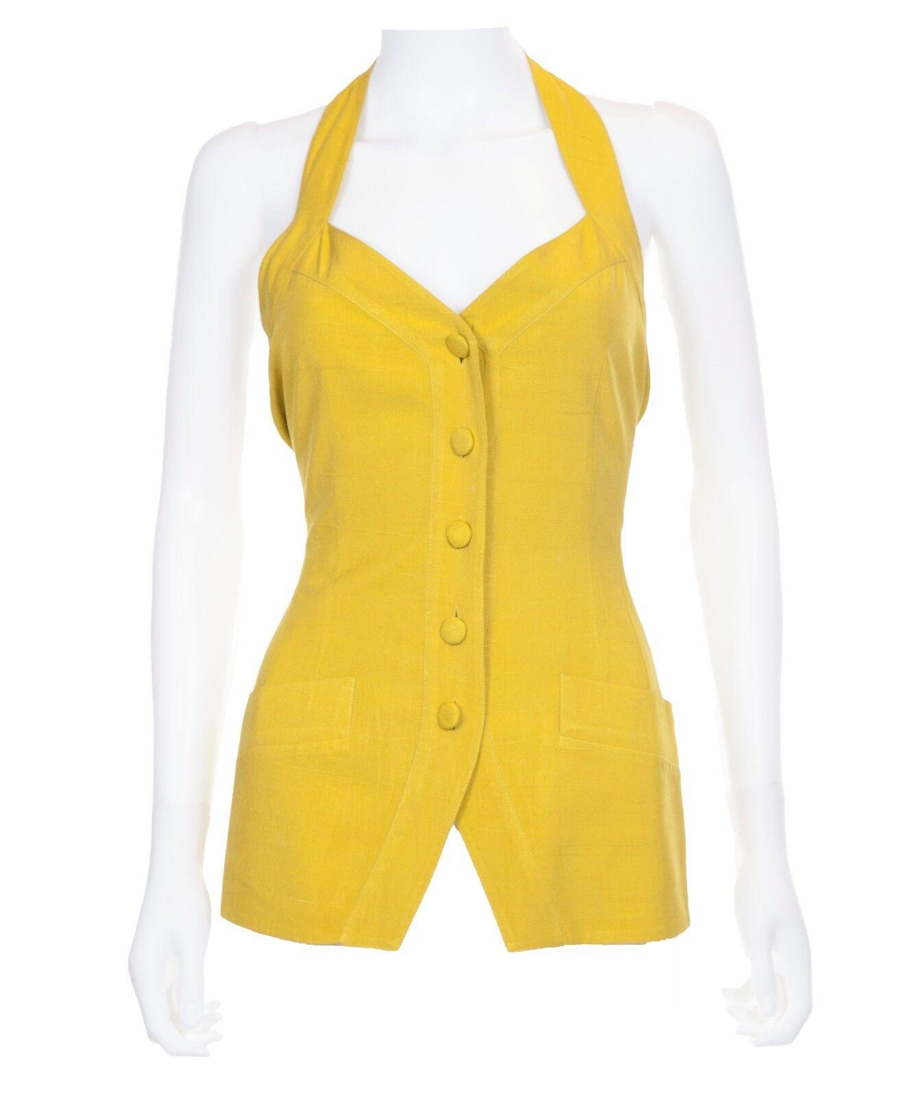 damen Karan Mustard Gelb Silk Button Front Halter Top Größe 4