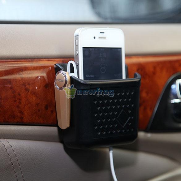 Universal Car Mobile Phone Organizer Charging Hole Storage Bag Holder Pocket New