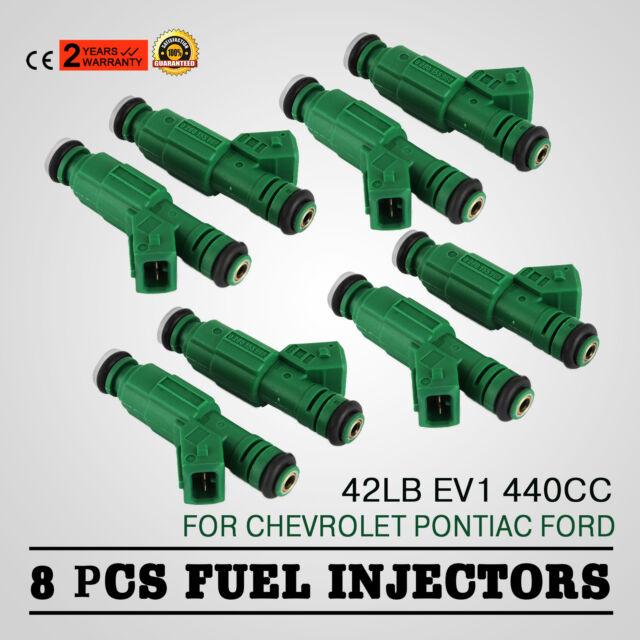 Set 8 42lb Green Fuel Injectors for GM Ford TBI LT1 LS1 LS6 V8 440cc EV1