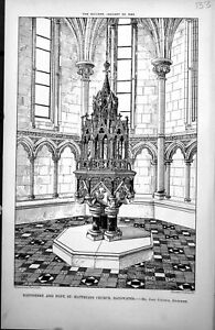 Old-Print-Baptistery-Font-St-Matthias-039-S-Church-Bayswater-J-Johnson-1885-19th