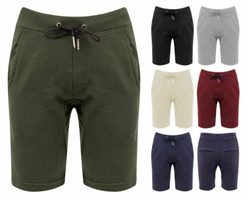New Mens Slim Fit Plain Drawstring Casual Pique Bottoms Shorts