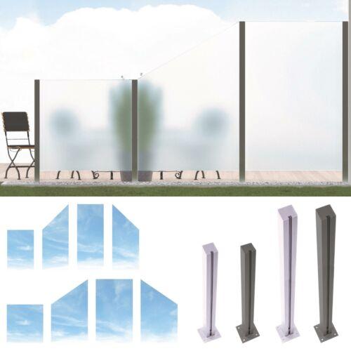 Design Glas Sichtschutz System ESG Glaszaun Windschutz Edelstahl Pfosten
