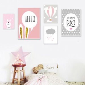 Details About Baby Nursery Wall Art Canvas Poster Pink Cartoon Print Picture S Room Decor