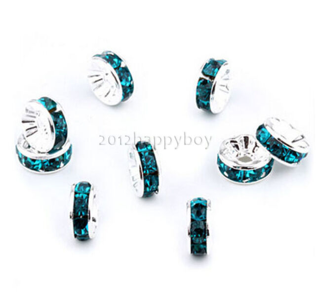 Top Quality 50/100Pcs Crystal Rhinestone Silver Plated Rondelle Spacer Beads 6mm