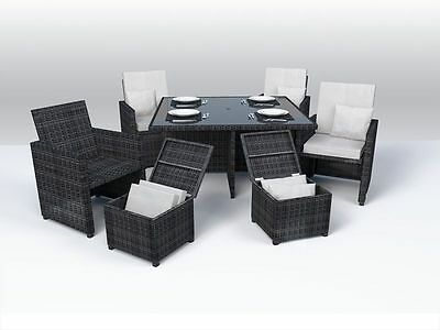 TO CLEAR! Ledbury 9 Piece Rattan Cube Set, Brown / Black, Fully Assembled