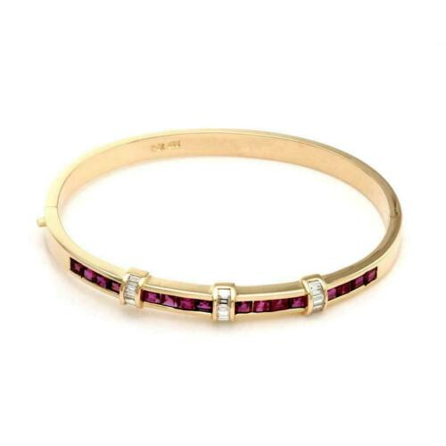 1.45CT Princess Cut Red Ruby 14K Yellow Gold Finish Exclusive Bangle Bracelet