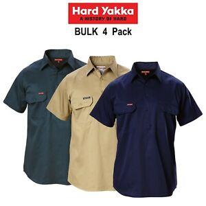 Mens-Hard-Yakka-Short-Sleeve-Shirt-4-PACK-Closed-Front-Cotton-Work-Safety-Y07540
