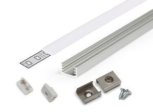 SET-Profilo-Alluminio-SLIM8-12x7mm-Slimtype-Tappi-Ganci-Cover-Opaco-per-8MM