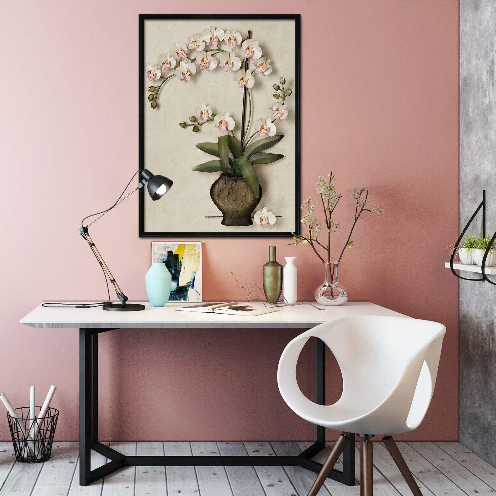 Cartel enmarcado 3D Phalaenopsis Florero 2 Decoración del Hogar Pintura de Impresión Arte AJ Wallpaper