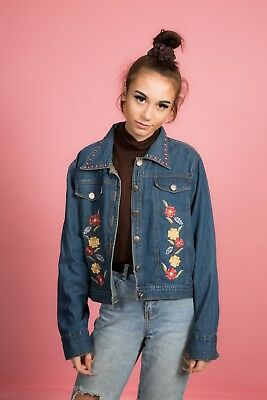 90s Vintage Floreale Ricamato Denim Giacca Di Jeans Da Una Nuova Identità Petite-mostra Il Titolo Originale