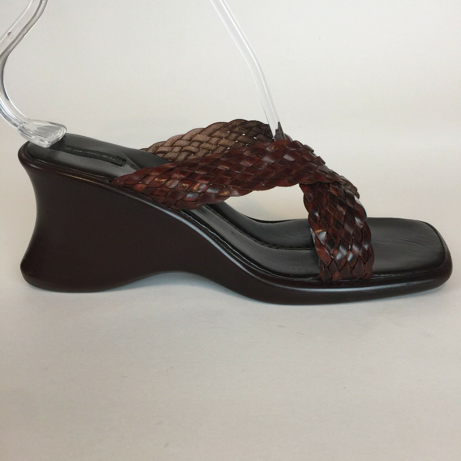 Sz 7M - Oliver Women�s Braided Brown Leather Criss Cross Wedge Sandal Slip On