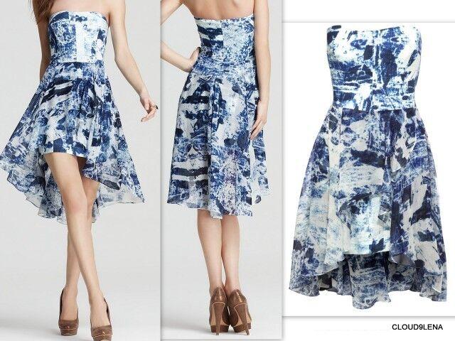 NWT FRENCH CONNECTION Größe 10 Woodblock Wonder Strapless Linen Blend Dress