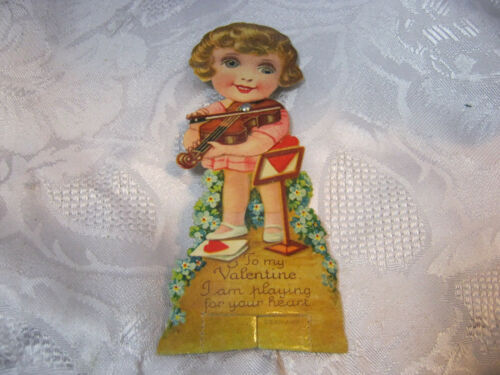 Antique Valentine's Day Valentine Greetings Card Mechanical Girl Violin Germany