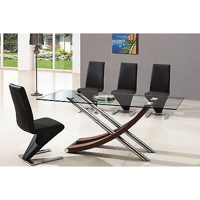 LOMBARDY GLASS WALNUT DINING ROOM TABLE AND 6 Z CHAIRS SET-FURNITURE-(IJ632-840)