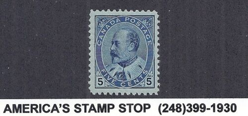 1903 Canada SC 91, KEVII King Edward 7, 5c Blue, MLH Bright