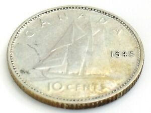 1945-Canada-Ten-10-Cents-Silver-Dime-Canadian-Circulated-George-VI-Coin-J960